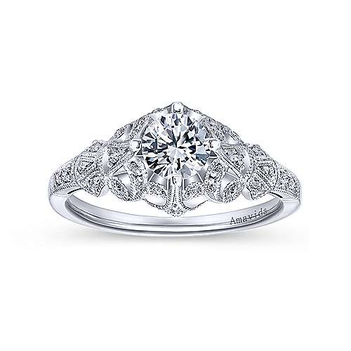 Vintage Inspired Platinum Round Wide Band Diamond Engagement Ring