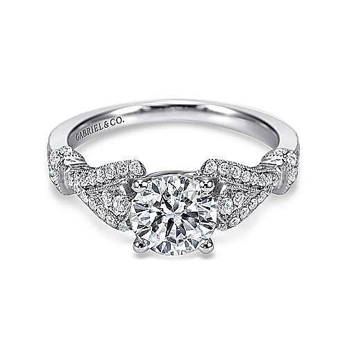 Vintage Inspired Platinum Split Shank Round Diamond Engagement Ring
