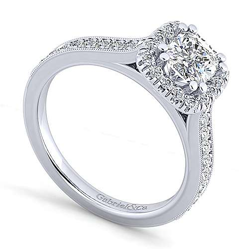 Vintage Platinum Cushion Halo Diamond Engagement Ring