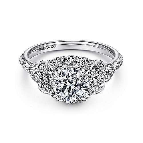 Gabriel - Vintage Platinum Fancy Halo Diamond Engagement Ring