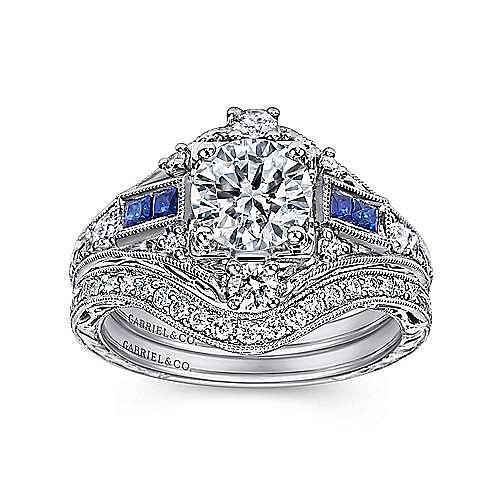 Vintage Platinum Fancy Halo Round Sapphire and Diamond Engagement Ring