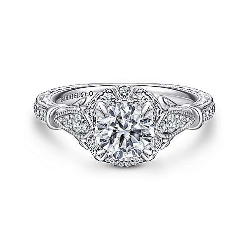 Gabriel - Vintage Platinum Halo Diamond Engagement Ring