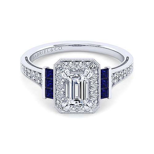Vintage Platinum Halo Emerald Cut Sapphire and Diamond Engagement Ring