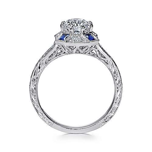 Vintage Platinum Octagonal Halo Round Sapphire and Diamond Engagement Ring