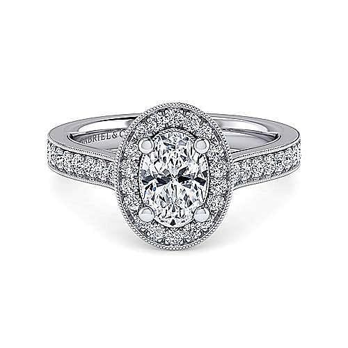 Vintage Platinum Oval Halo Diamond Engagement Ring