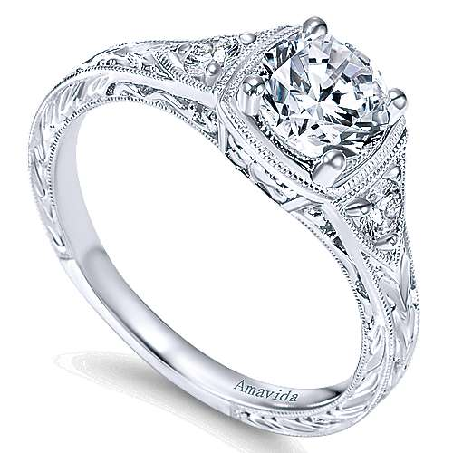 Vintage Platinum Round Three Stone Diamond Engagement Ring
