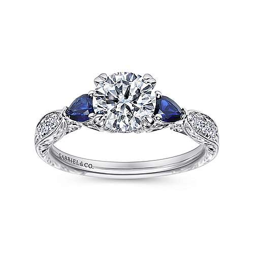 Vintage Platinum Round Three Stone Sapphire and Diamond Engagement Ring