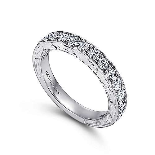 Vintage White Gold Hand Engraved Micro Pavé Channel Set Band