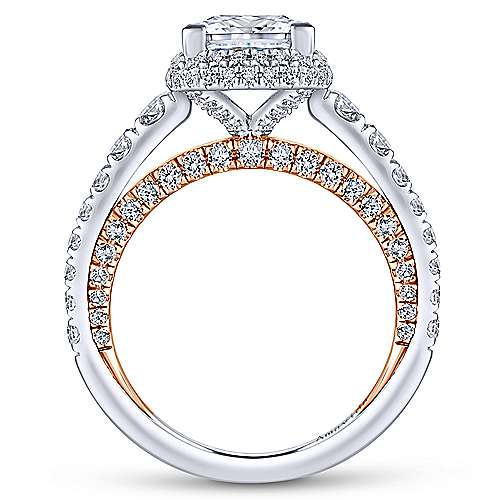 Violetta 18k White And Rose Gold Princess Cut Double Halo Engagement Ring angle 2