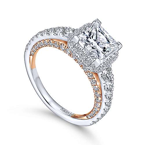 Violetta 18k White And Rose Gold Princess Cut Double Halo Engagement Ring angle 3