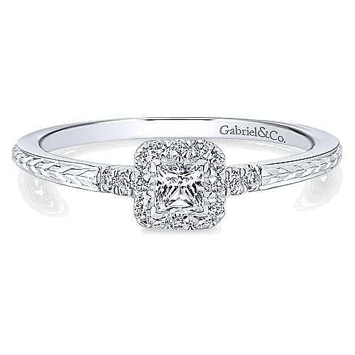 Virea 14k White Gold Princess Cut Halo Engagement Ring angle 1