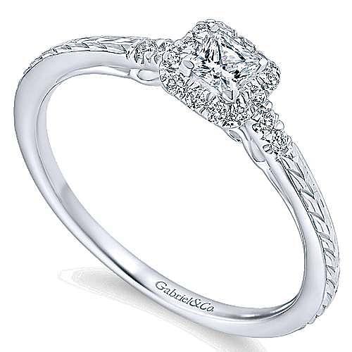 Virea 14k White Gold Princess Cut Halo Engagement Ring angle 3