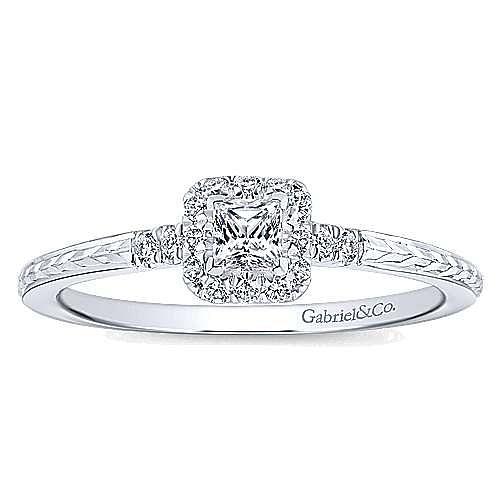 Virea 14k White Gold Princess Cut Halo Engagement Ring angle 5