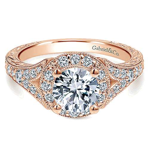 Vivian 14k Rose Gold Round Halo Engagement Ring angle 1