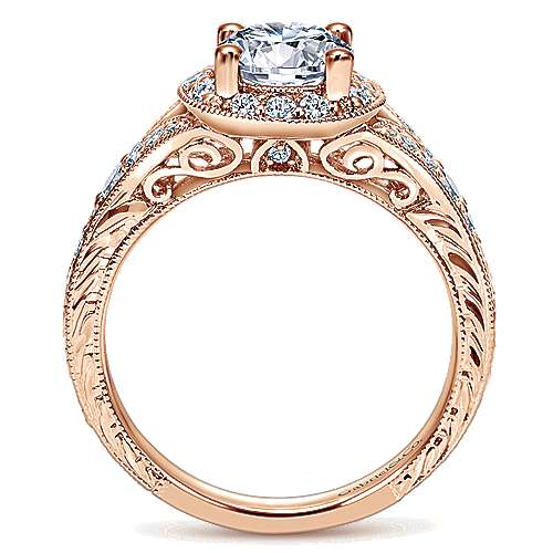Vivian 14k Rose Gold Round Halo Engagement Ring angle 2