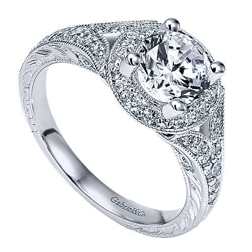 Vivian 14k White Gold Round Halo Engagement Ring angle 3
