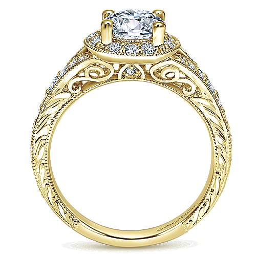 Vivian 14k Yellow Gold Round Halo Engagement Ring angle 2