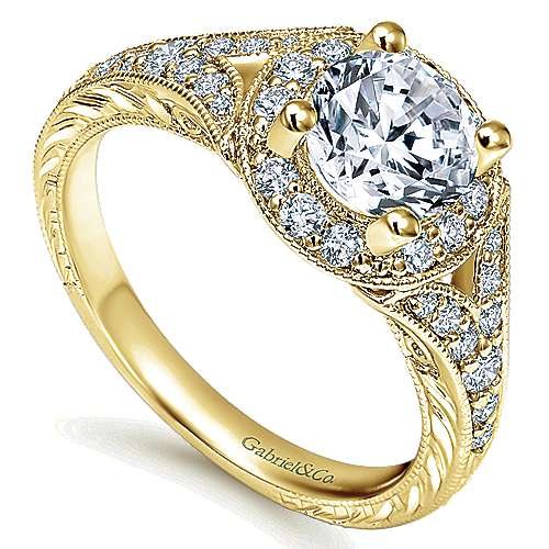Vivian 14k Yellow Gold Round Halo Engagement Ring angle 3