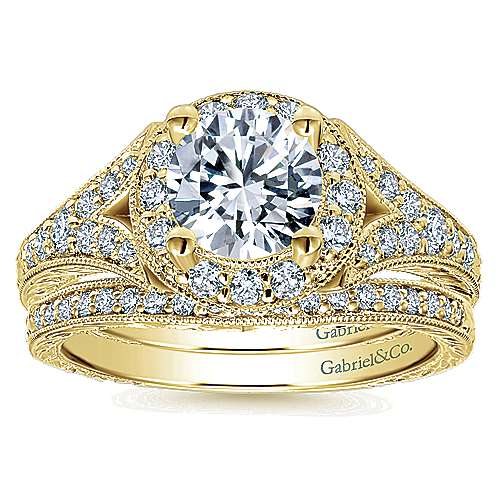 Vivian 14k Yellow Gold Round Halo Engagement Ring angle 4