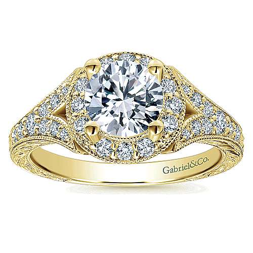 Vivian 14k Yellow Gold Round Halo Engagement Ring angle 5