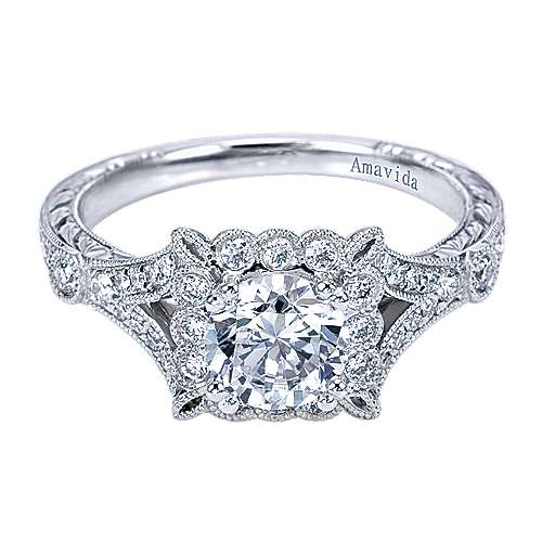 Vivid Platinum Round Halo Engagement Ring angle 1