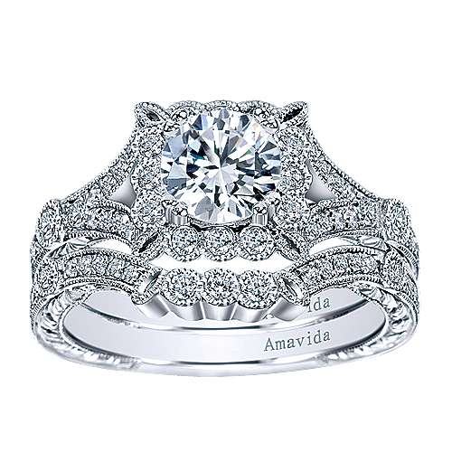 Vivid Platinum Round Halo Engagement Ring angle 4