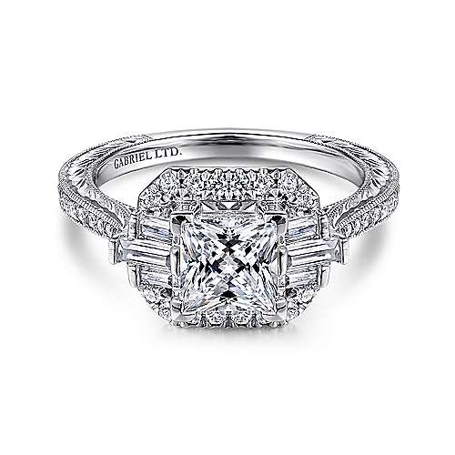 Wallace 14k White Gold Princess Cut Straight Engagement Ring