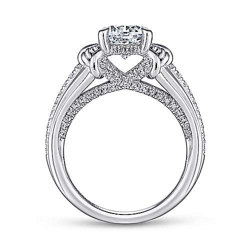 Wanda 18k White Gold Round Straight Engagement Ring angle 2