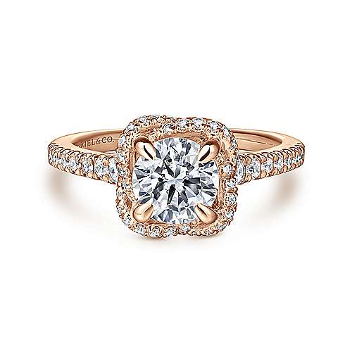 Gabriel - Warner 14k Rose Gold Round Halo Engagement Ring