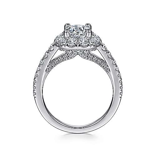 Wendell 14k White Gold Round Halo Engagement Ring