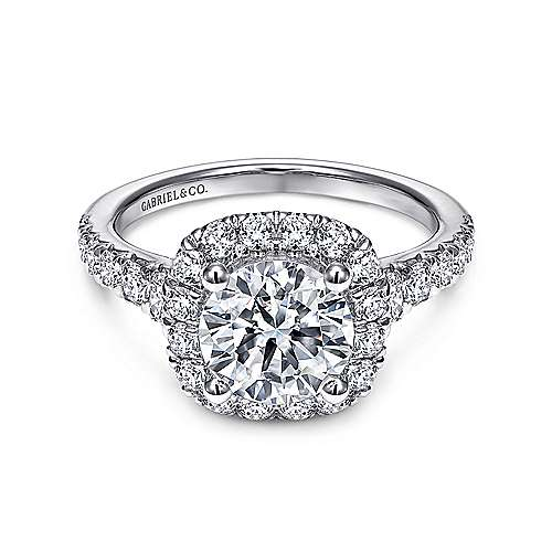 Gabriel - Wendy 18k White Gold Round Halo Engagement Ring
