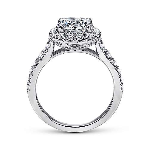 Wendy 18k White Gold Round Halo Engagement Ring