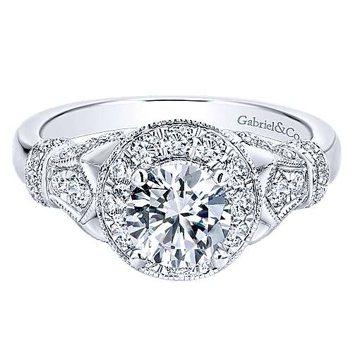 Gabriel - Whitney 14k White Gold Round Halo Engagement Ring