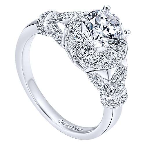 Whitney 14k White Gold Round Halo Engagement Ring angle 3