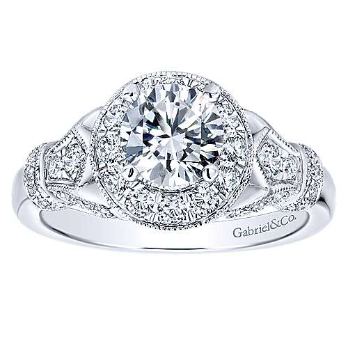 Whitney 14k White Gold Round Halo Engagement Ring angle 5