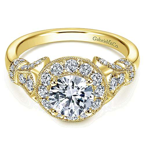 Whitney 14k Yellow Gold Round Halo Engagement Ring angle 1