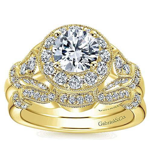 Whitney 14k Yellow Gold Round Halo Engagement Ring angle 4