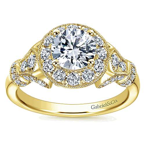 Whitney 14k Yellow Gold Round Halo Engagement Ring angle 5