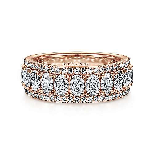 Wide 14K Rose Gold Oval and Round Diamond Anniversary Band