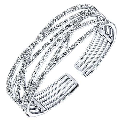 Wide 14K White Gold Criss Crossing Open Diamond Bangle