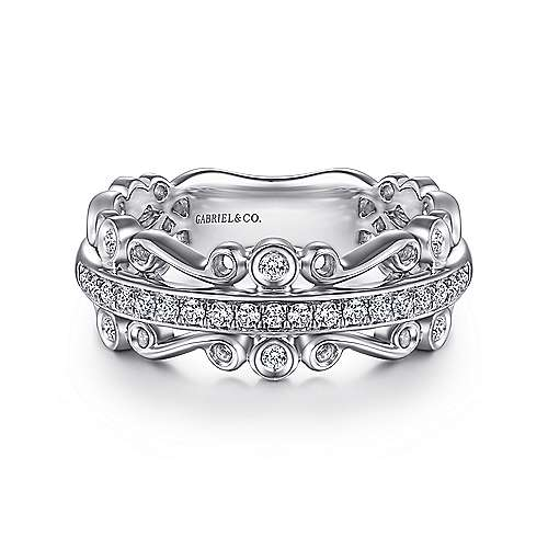 Wide 14K White Gold Diamond Anniversary Band with Scrollwork