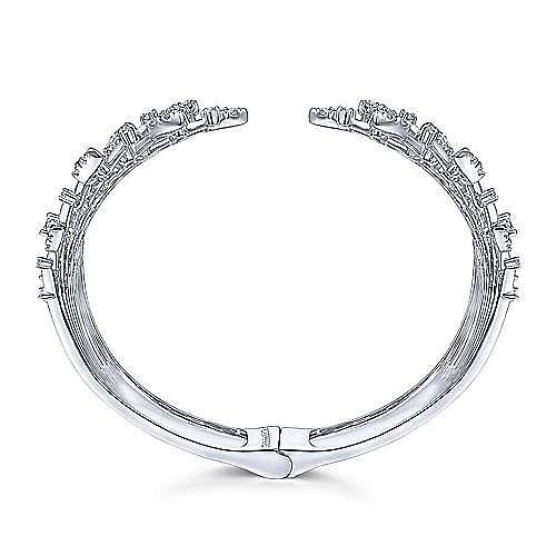 Wide 14K White Gold Diamond Burst Split Cuff Bracelet