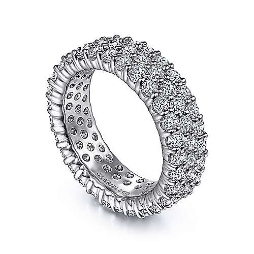 Wide 14K White Gold Diamond Pavé Eternity Band
