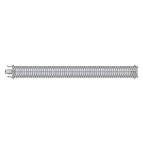 Wide 14K White Gold Diamond Tennis Bracelet