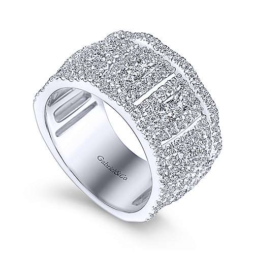 Wide 14K White Gold Fancy Diamond Anniversary Band