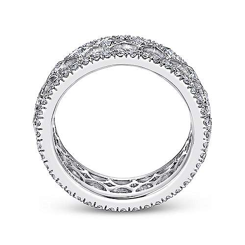 Wide 14K White Gold Geometric Pattern Diamond Eternity Band