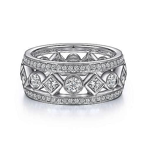 Wide 14K White Gold Geometric Pattern Diamond Eternity Band