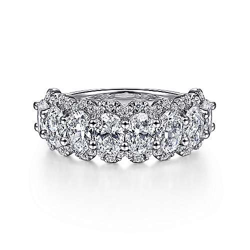 Wide 14K White Gold Oval Halo Station Diamond Anniversary Band