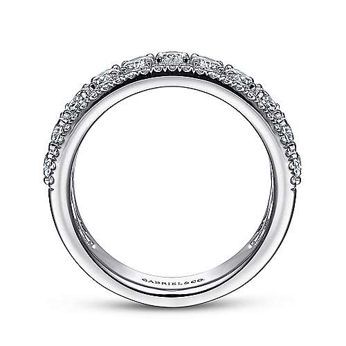 Wide 14K White Gold Oval and Round Diamond Anniversary Band