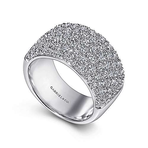 Wide 14K White Gold Pavé Diamond Anniversary Band